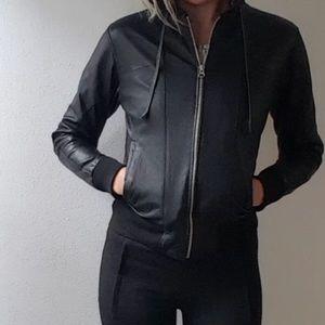 Doma Jackets & Coats - THE LOT Varsity plaid hoodie leather jacket 2 xs